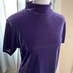 Vintage Tops - Vintage Purple Velvet Short Sleeve Mock Neck Top